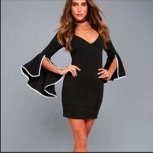 Lulu's Most Beloved Black Bell Sleeve Dress